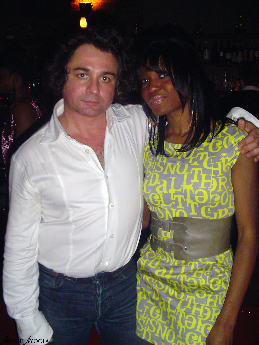 Abigail Ayoola with designer Giuseppe Tavano at Burberry Fashion  Show