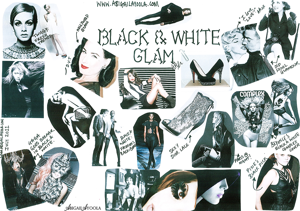 JULY'S BLACK & WHITE GLAM MOOD BOARD