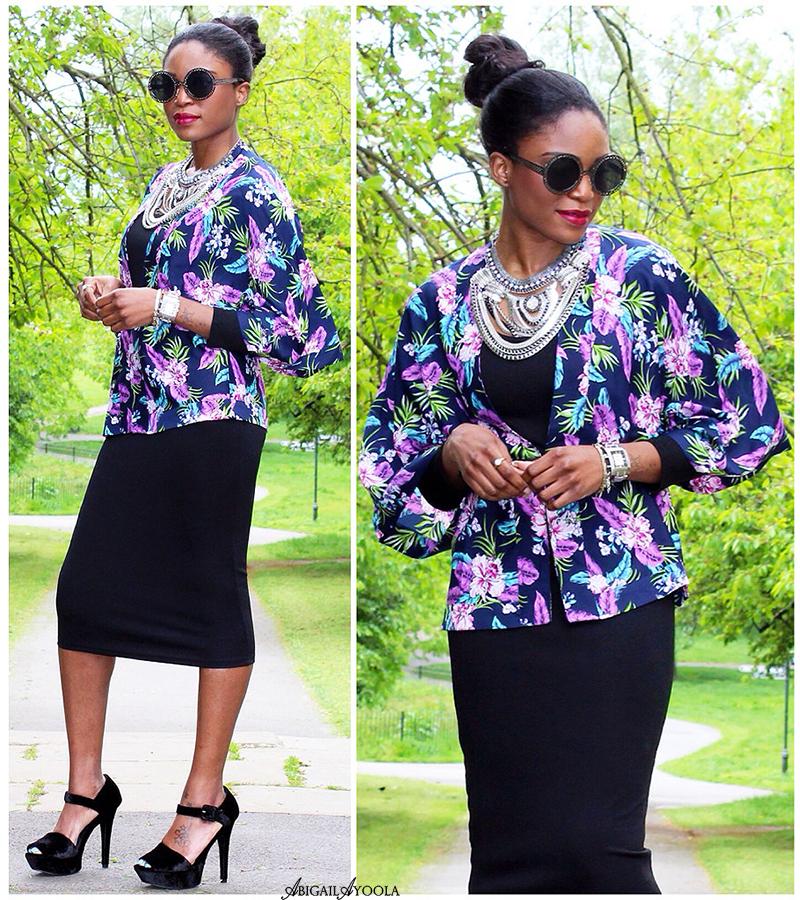 Wearing a tropical print kimono