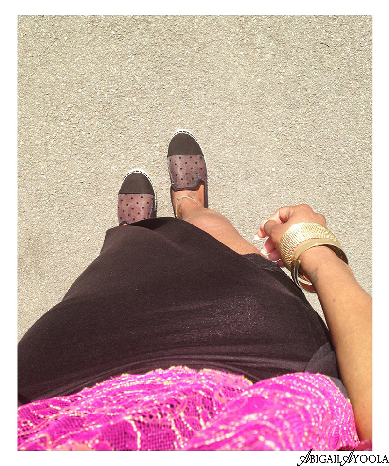 Wearing a black maxi skirt in summer