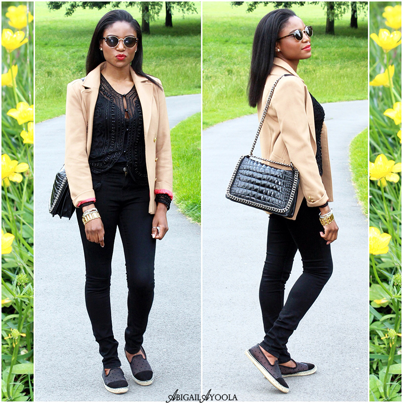 A Casual Beige and Black Outfit.