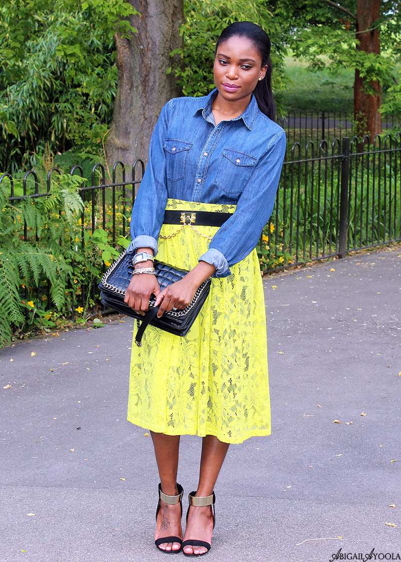 WEARING YELLOW LACE WITH DENIM