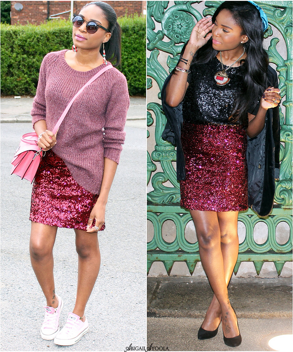 HOW TO WEAR A SEQUIN SKIRT FROM DAY TO NIGHT