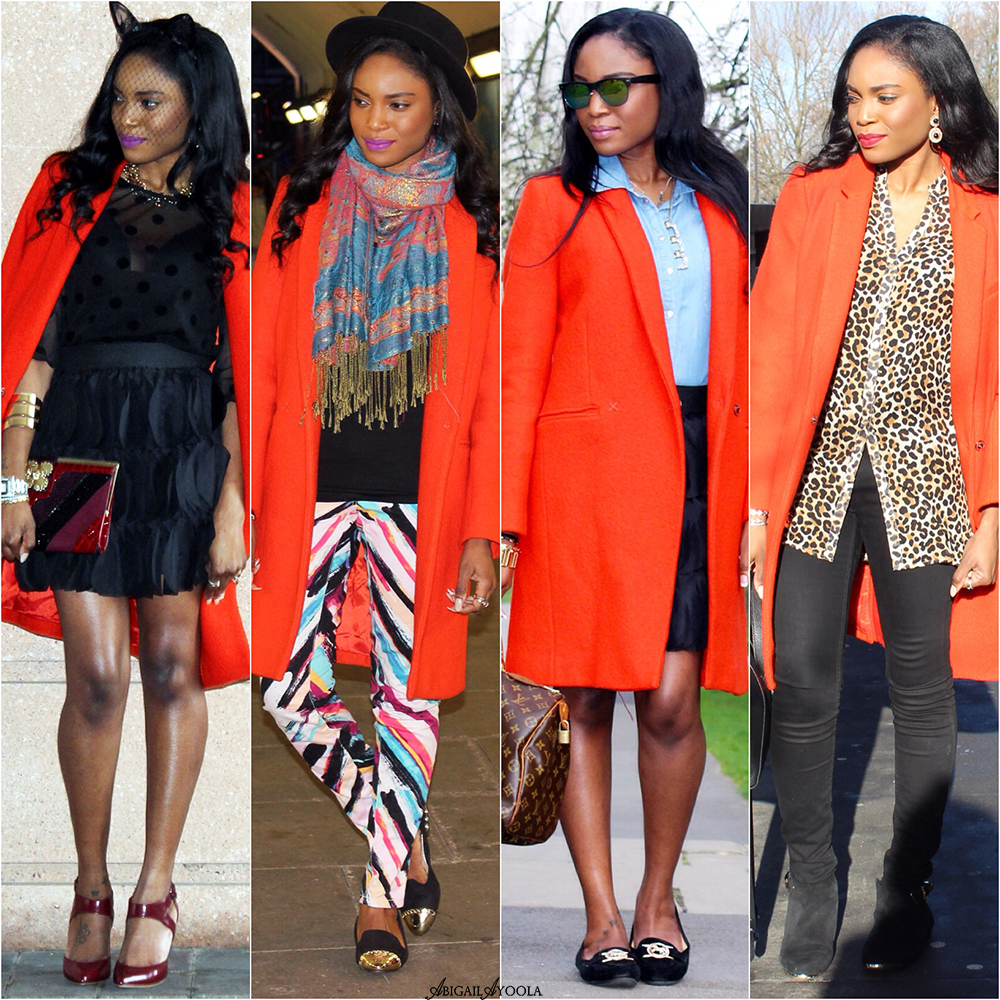 FALL FASHION STYLING IDEAS WITH ORANGE BOUCLE COAT