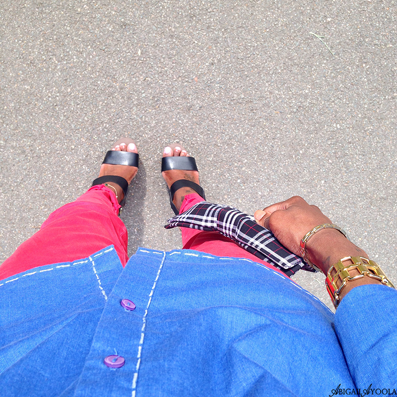 COLOUR BLOCKING RED & BLUE OUTFIT