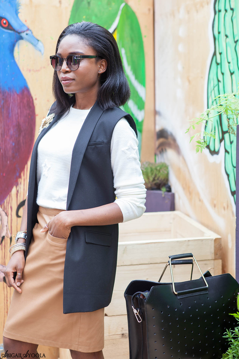 STYLING A TAN LEATHER SKIRT FOR WORK
