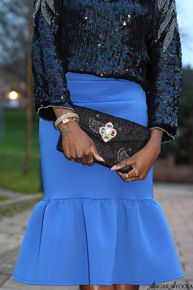 PEPLUM SKIRT & SEQUINS PARTY OUTFIT