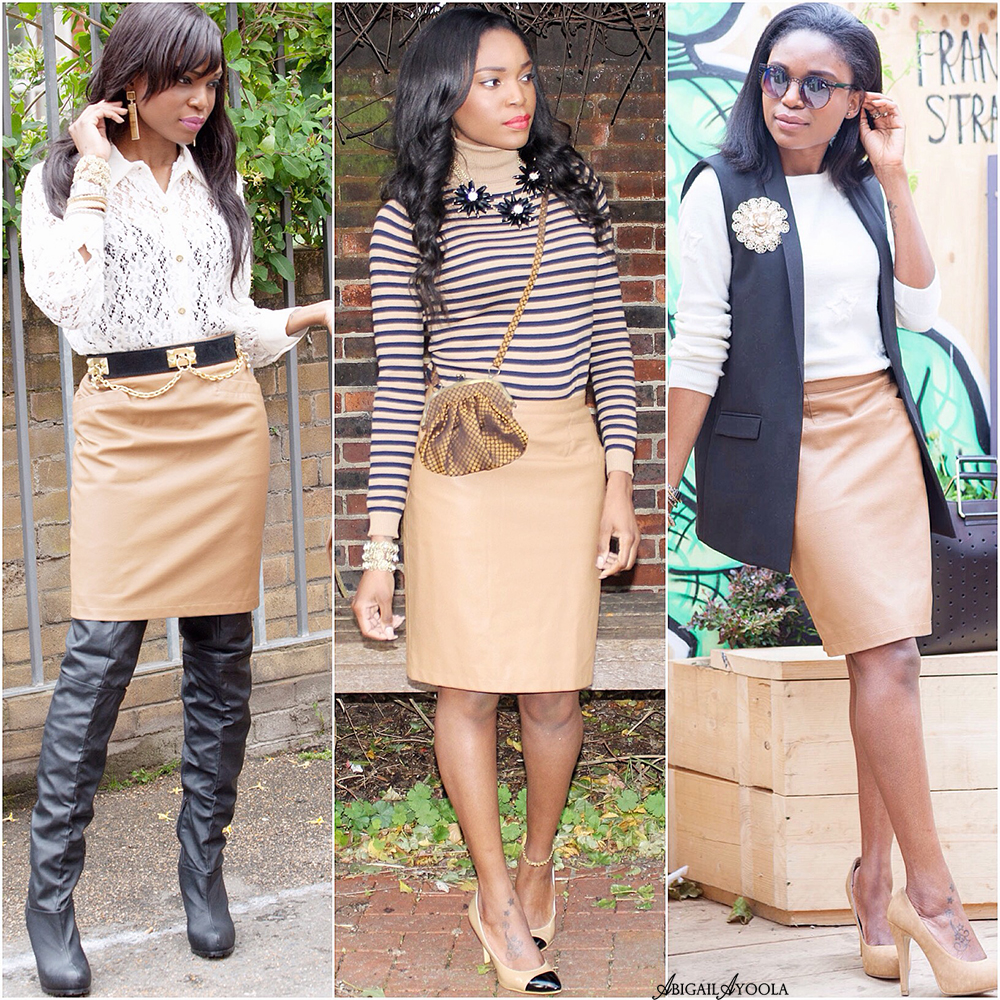 3 WAYS TO WEAR 1 TAN LEATHER SKIRT