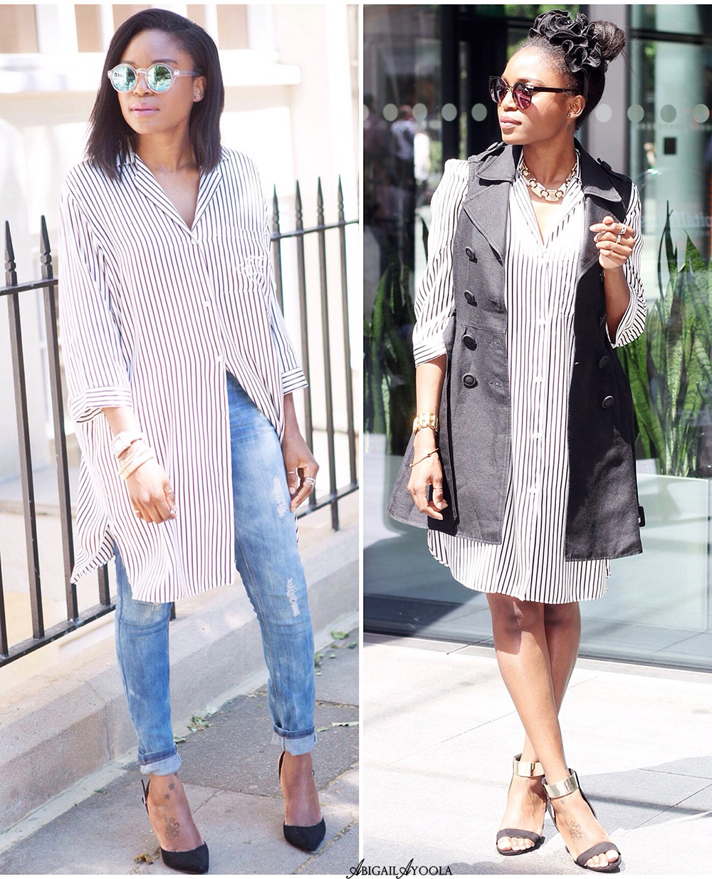 2 WAYS TO WEAR 1 STRIPED SHIRT DRESS