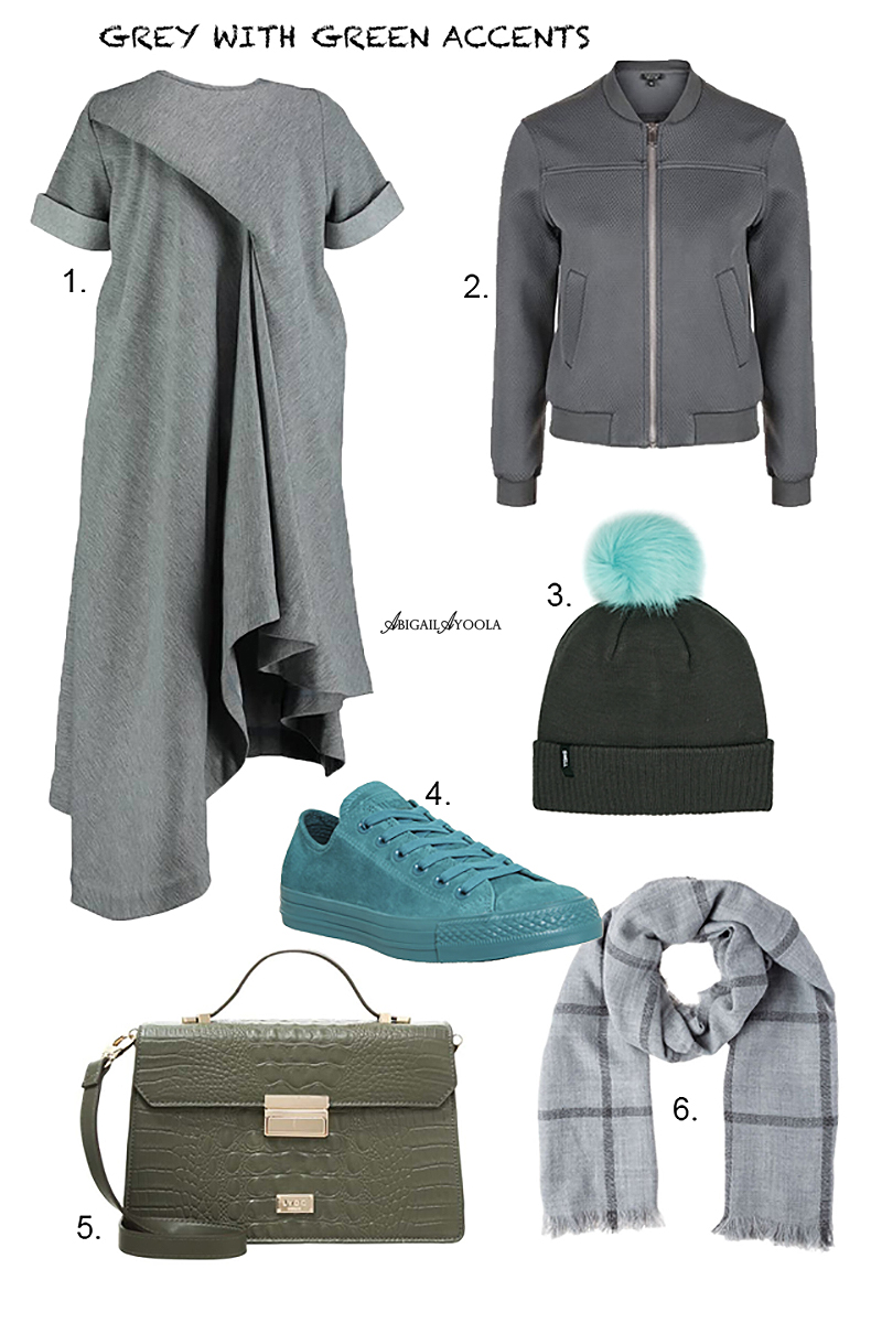 STYLING A GREY OUTFIT WITH GREEN ACCENTS