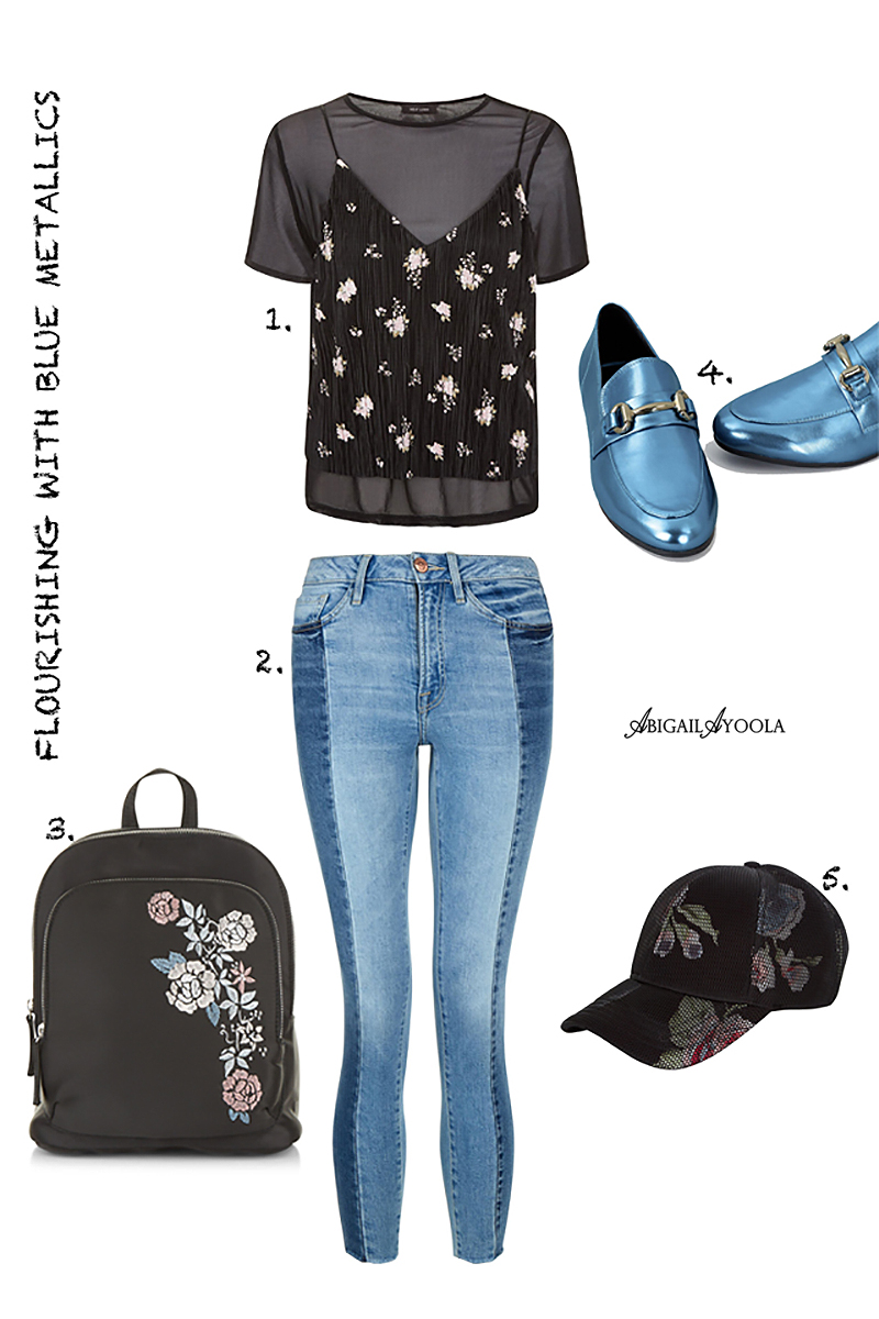 A FLOURISHING OUTFIT WITH BLUE METALLIC ACCENTS