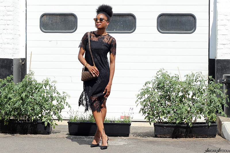 WEARING A BLACK LACE SUMMER DRESS