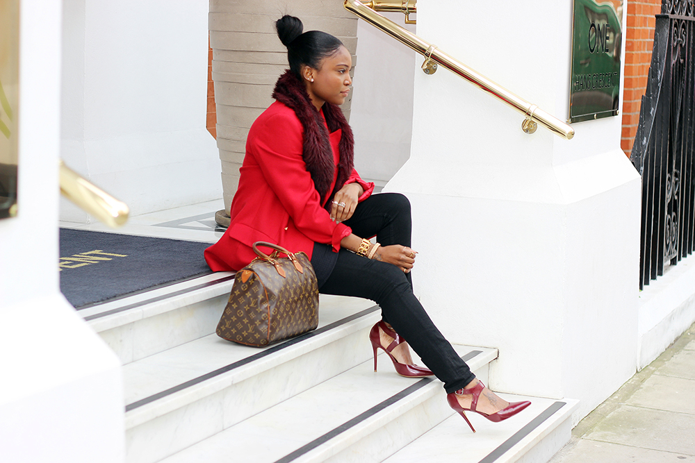Fashion Blogger Abigail Ayoola Wearing Red Burberry Blazer