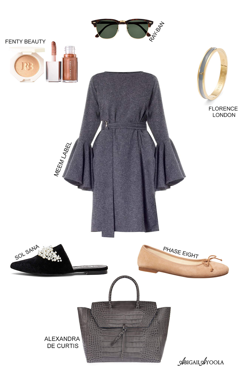 GORGEOUS GREY FLUTED SLEEVE DRESS OUTFIT
