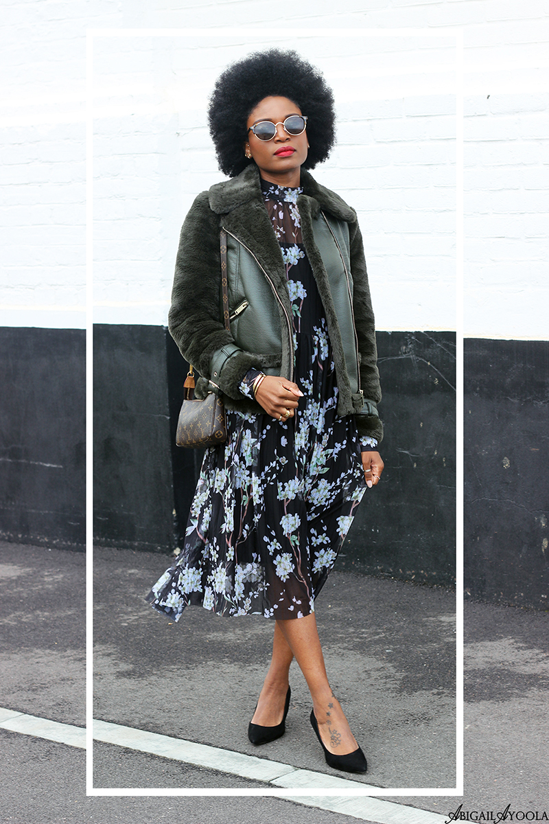 London Fashion Blogger wearing Green Jacket and Floral Dress