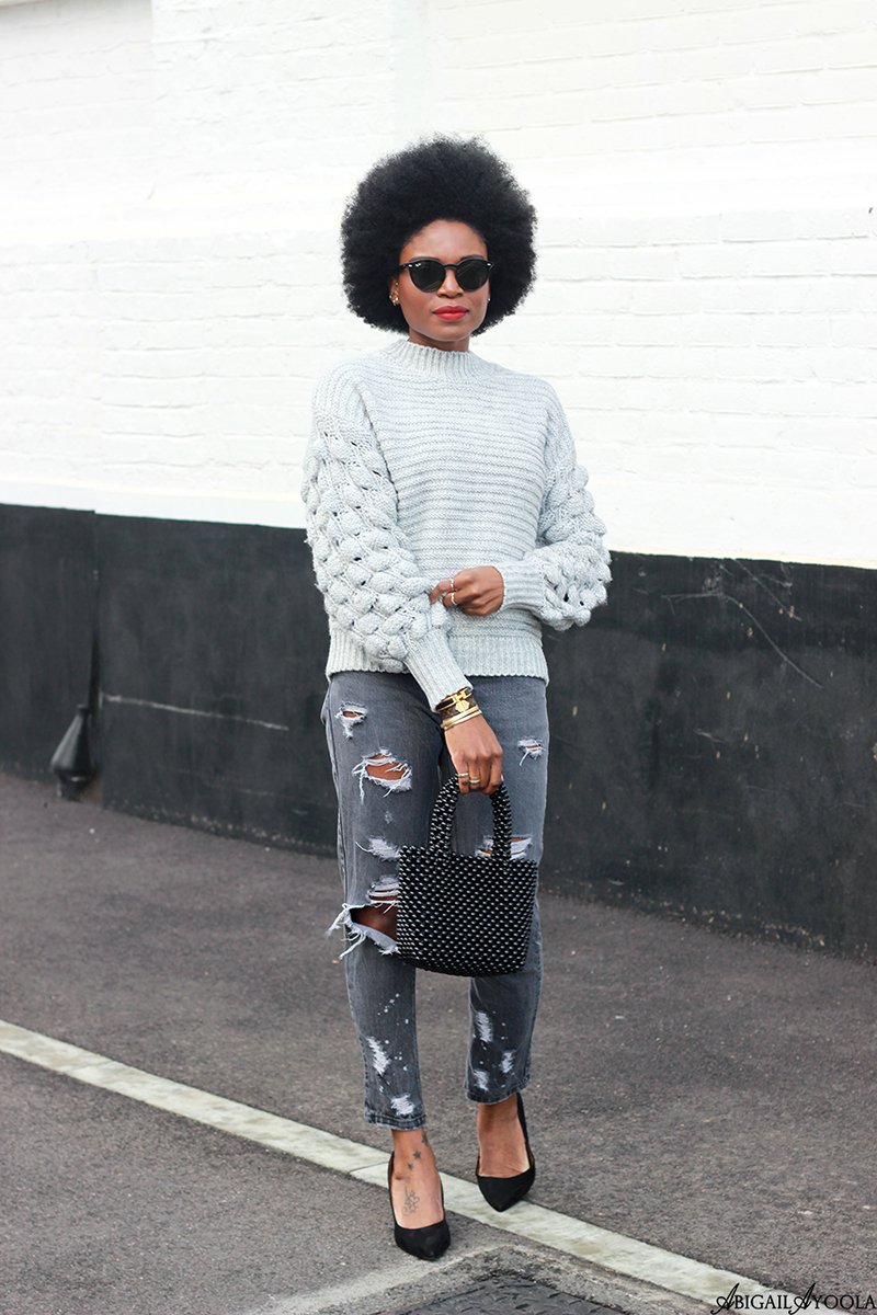 London Fashion Blogger wearing Grey Knitwear Jumper and Ripped Jeans