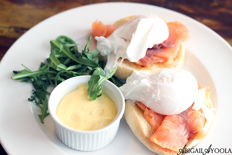 Eggs Royale - English muffins, poached egg, Hollandaise sauce and smoked salmon