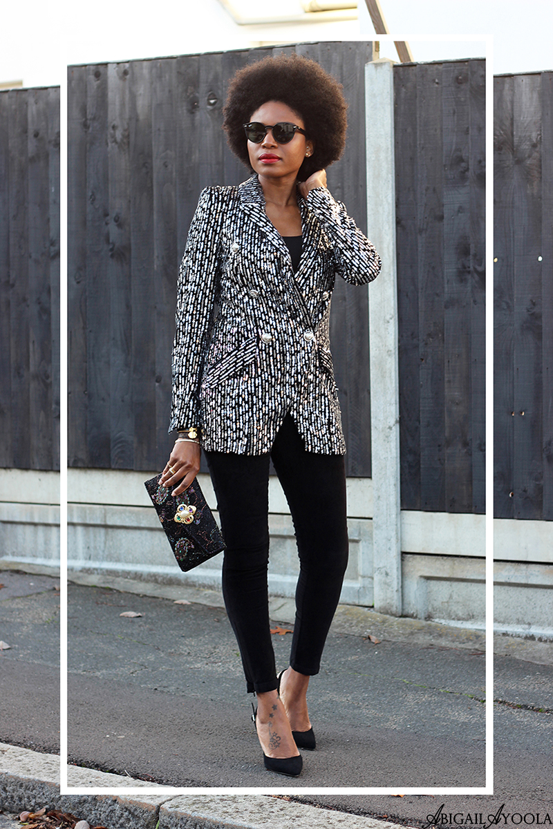 FASHION BLOGGER ABIGAIL AYOOLA WEARING SEQUIN BLAZER & VELVET TROUSERS