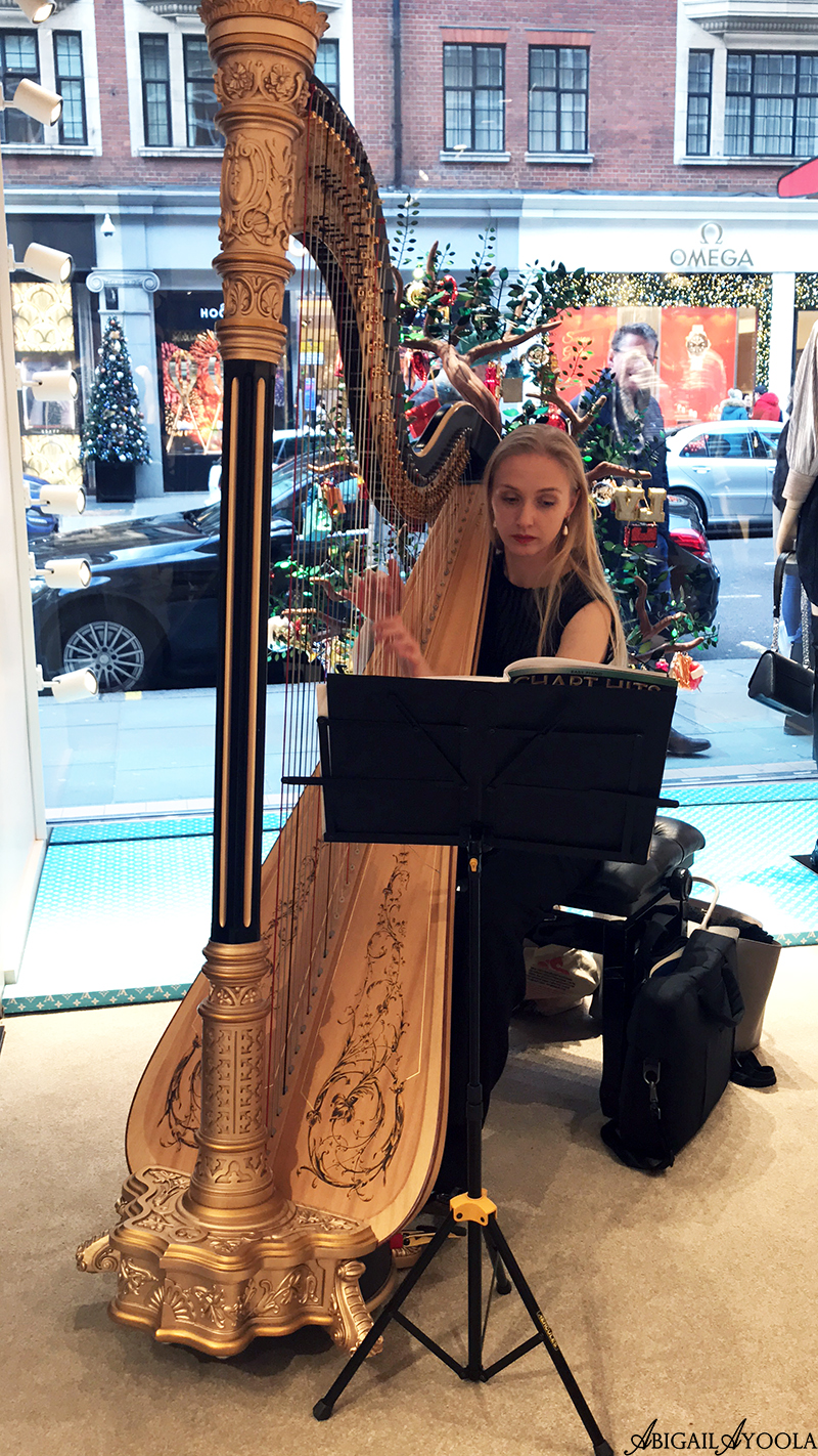 Harpist playing at Louis Vuitton Exclusive Brunch