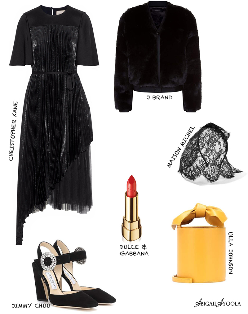 Outfit Idea style inspiration with black dress and yellow bucket bag
