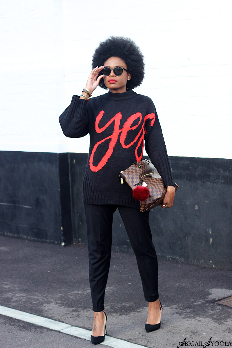 FASHION BLOGGER ABIGAIL AYOOLA WEARING THE BLACK YES SLOGAN KNITWEAR JUMPER