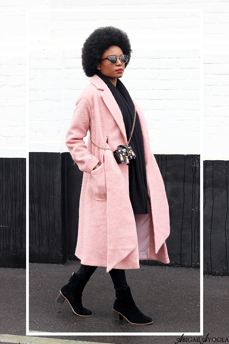 FASHION BLOGGER ABIGAIL AYOOLA WEARING PINK TIE FRONT COATIGAN