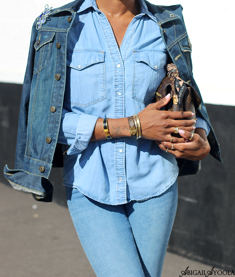 FASHION STYLIST ABIGAIL AYOOLA SHOWING HOW TO WEAR TRIPLE DENIM FOR SPRING