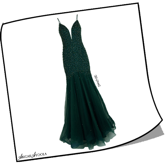 Green Embellished Trumpet Gown
