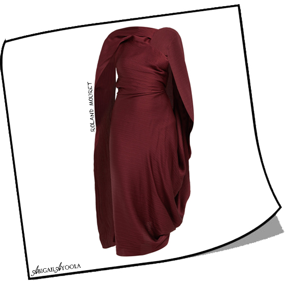 Burgundy Lillico Cape Hammered-silk Midi Dress